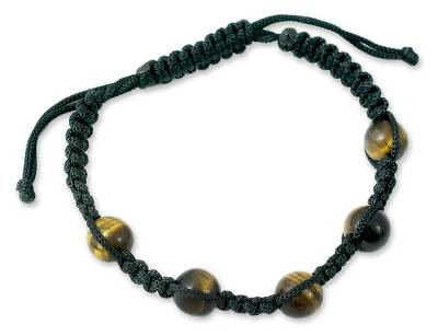 Tiger Eye Shamballa Bracelet with Black Cord Handmade India
