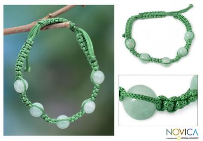 Aventurine Shambhala-style bracelet, 'Healing Love' - Aventurine Macrame Shambhala-style Bracelet from India
