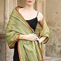Cotton and silk shawl, 'India Summer' - Cotton and silk shawl