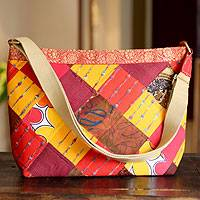 Recycled cotton shoulder bag, 'Mumbai Suns' - Recycled cotton shoulder bag