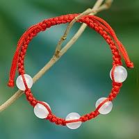 Chalcedony Shambhala-style bracelet, 'Peace and Good Fortune' - Handmade Chalcedony Shambhala-style Bracelet