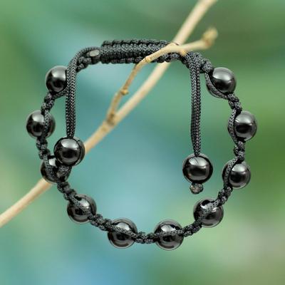 Onyx Shambhala-style bracelet, 'Protected Oneness' - Shambhala-style Onyx Bracelet Artisan Crafted Jewelry