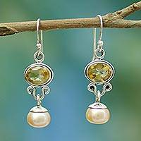 Pearl and citrine earrings, 'Golden Light' - Pearl and Citrine Earrings in Sterling Silver Jewelry