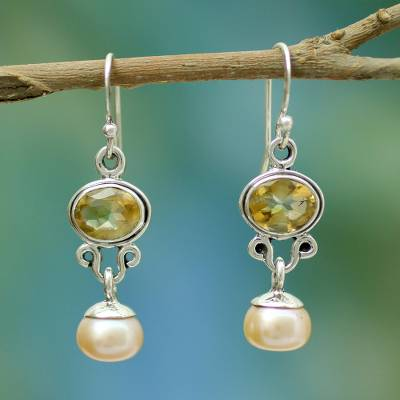 Pearl and citrine earrings, Golden Light