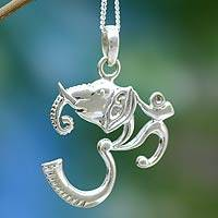 Sterling silver pendant necklace, 'Ganesha Meditation' - Sterling silver pendant necklace