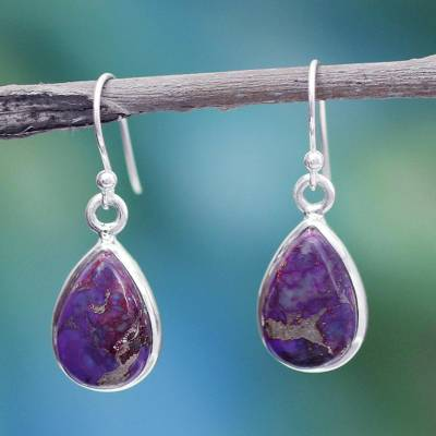 Sterling silver dangle earrings, 'Beautiful Goddess' - Purple Composite Turquoise on Sterling Silver Earrings