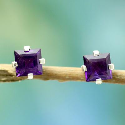 Amethyst stud earrings, 'India Charm' - Sterling Silver and Amethyst Stud Earrings