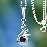 Amethyst pendant necklace, 'New Growth' - Amethyst and Silver Pendant Necklace