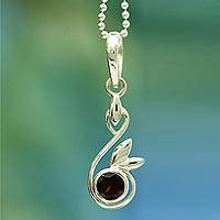 Garnet pendant necklace, 'New Growth' - Indian Sterling Silver and Garnet Necklace from India