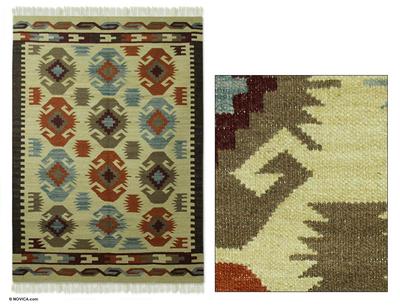 Wool rug (4x6) - Tribal Stars | NOVICA