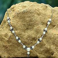Pearl and garnet Y necklace, 'Princess of Mumbai' - Pearl and Garnet Necklace
