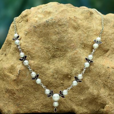 Pearl and garnet Y necklace, 'Princess of Mumbai' - Pearl and Garnet Necklace