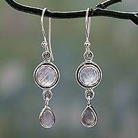 Moonstone dangle earrings, 'Shimmer' - Sterling Silver Moonstone Earrings Handcrafted in India