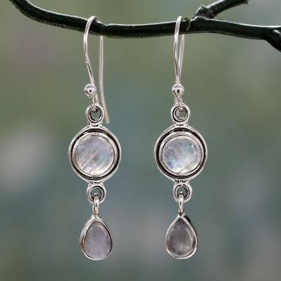 Moonstone dangle earrings, 'Shimmer' - Moonstone Earrings in Sterling Silver Handmade in India