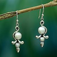 Pearl dangle earrings, 'Cloud Song'