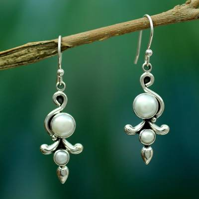 Pearl dangle earrings, 'Cloud Song' - Pearl Earrings from India jewellery Collection