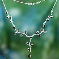 Garnet Y-necklace, 'Parwati's Passion' - Handcrafted Women's Garnet and Sterling Silver y Necklace
