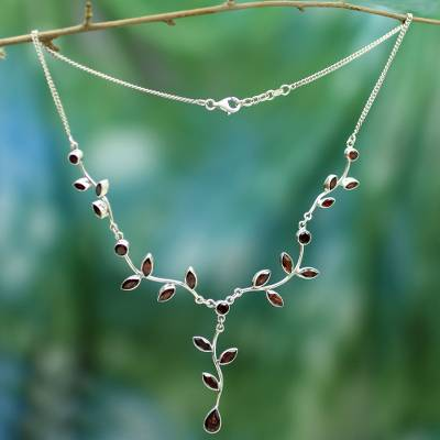 Garnet Y-necklace, 'Parwati's Passion' - Fair Trade Women's Garnet and Sterling Silver Y Necklace