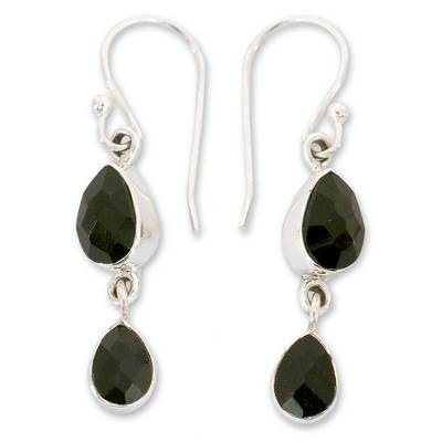 Indian Sterling Silver and Onyx Earrings