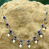 Lapis lazuli and cultured pearl pendant necklace, 'Sita's Splendor' - Fair Trade Pearl and Lapis Lazuli Necklace