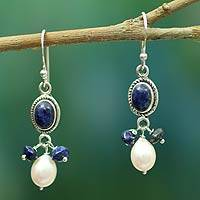 Lapis lazuli and cultured pearl dangle earrings, 'Sita's Splendor' - Handmade Lapis Lazuli and Pearl Earrings