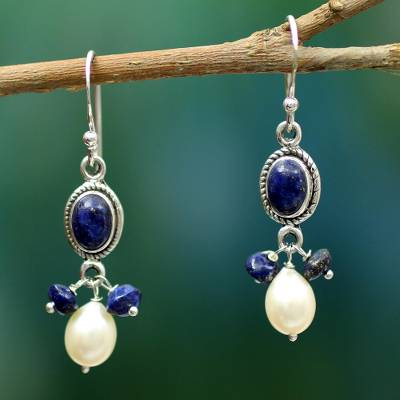 Lapis lazuli and cultured pearl dangle earrings, 'Sita's Splendor' - Handmade Lapis Lazuli and Pearl Earrings