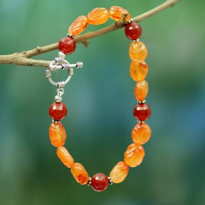 Carnelian beaded bracelet, 'Sunset Forest' - Carnelian beaded bracelet