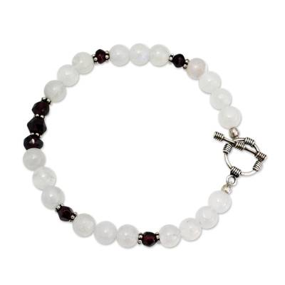 Rainbow Moonstone and garnet beaded bracelet