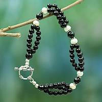 Onyx and pearl beaded bracelet, 'Extravaganza' - Onyx and pearl beaded bracelet