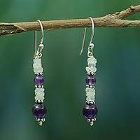 Amethyst and rainbow moonstone dangle earrings, Morning Clouds