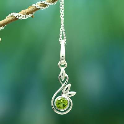 Peridot  pendant necklace, 'New Growth' - Peridot Necklace from Indian Modern jewellery Collection
