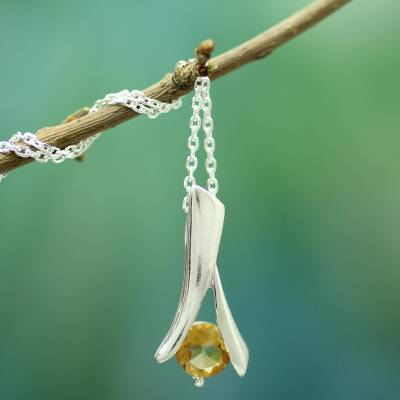 Citrine pendant necklace, 'Chennai Sun' - Modern jewellery Sterling Silver and Citrine Necklace