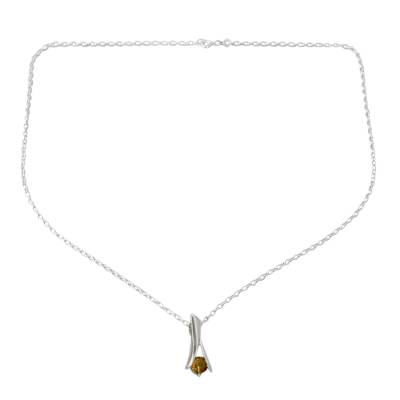 Modern Jewelry Sterling Silver and Citrine Necklace