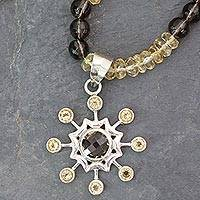 Citrine and smoky quartz pendant necklace, 'Jaipur Sun' - Sun Pendant Necklace of Citrine and Smoky Quartz