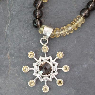 Citrine and smoky quartz pendant necklace, 'Jaipur Sun' - Citrine and smoky quartz pendant necklace