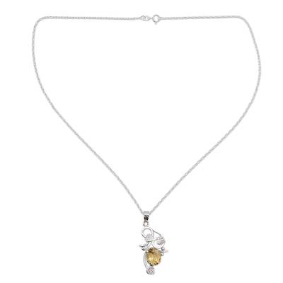 Citrine flower necklace, 'Sun Blossom' - Citrine flower necklace