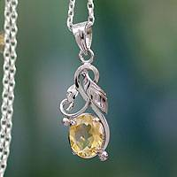 Citrine flower necklace,