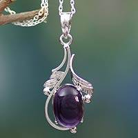 Amethyst pendant necklace, 'Indian Sugarplum' - Amethyst Necklace in Sterling Silver from India
