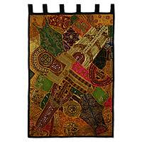 Cotton wall hanging, 'Autumn Sunlight' - Hand Crafted Gujarati Embellished Cotton Wall Hanging