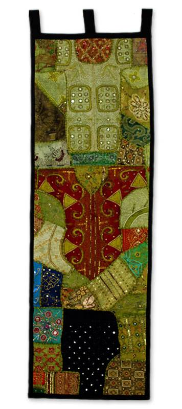 Cotton wall hanging, 'Evergreen Moods' - Gujarati Wall Hanging in Cotton with Mirror Work