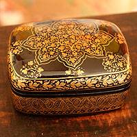 Papier mache box, 'Golden Splendor' - Unique Floral Wood Papier Mache Metallic Decorative Box