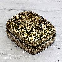 Paper mache box, 'Golden Wishes' - Golden Papier Mache Box