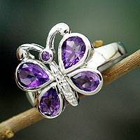 Amethyst cocktail ring, 'Lilac Butterfly' - Amethysts on Sterling Silver Cocktail Ring from India