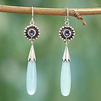 Chalcedony and iolite dangle earrings, 'Jaipuri Kiss' - Handcrafted Sterling Silver and Chalcedony Earrings