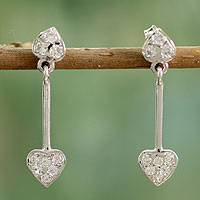 Sterling silver dangle earrings, 'Joyous Hearts' - Sterling silver dangle earrings
