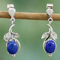 Lapis lazuli flower earrings, 'Precious Blue'