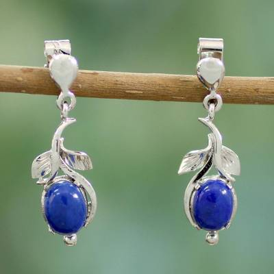 Lapis lazuli flower earrings, 'Precious Blue' - Lapis lazuli flower earrings