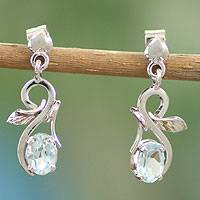 Blue topaz flower earrings, 'Blossom Romance' - Blue topaz flower earrings