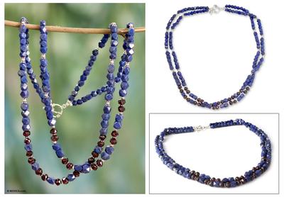 Lapis lazuli and garnet strand necklace, 'Bon Voyage' - Lapis lazuli and garnet strand necklace