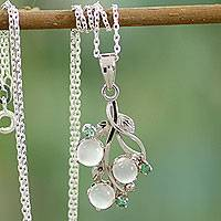 Moonstone and emerald pendant necklace, 'Moon Enchantment'